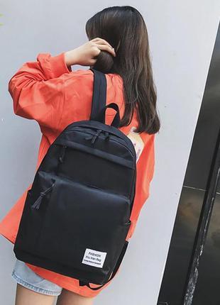 Базовый однотонный чёрный школьный рюкзак портфель сумка а4 много карманчиков