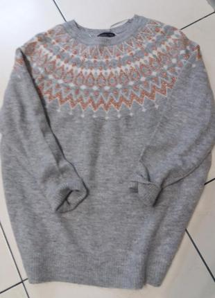 Очень теплый трендовый свитерок- туника