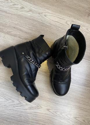 Ботинки кожаные чёрные на тракторной подошве