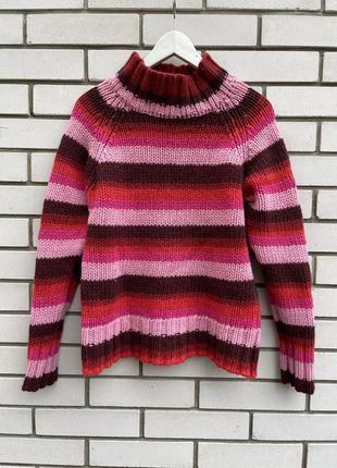 Шерстяной яркий полосатый свитер h&m