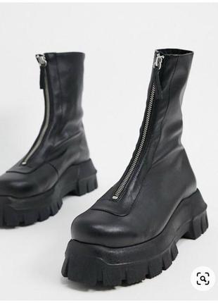 Asos premium ботинки осенние демисезонные кожаные кожа