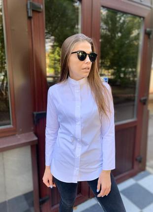 Рубашка стойка-воротник женская