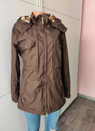 Ветровка куртка  плащ парка коричневая с капюшоном и карманами black forest
