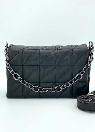 Женская сумка стеганая. жіноча сумка перешита (чорна).