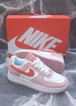 Женские кроссовки nike air force розовые, кожаные