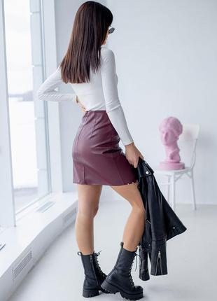 Оригинальная асимметричная юбка с жемчугом