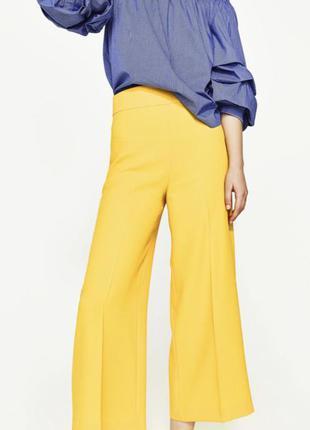 Жёлтые широкие укорочённые брюки zara