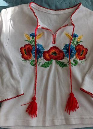 Трикотажная вышиванка с длинным рукавом (74 р)