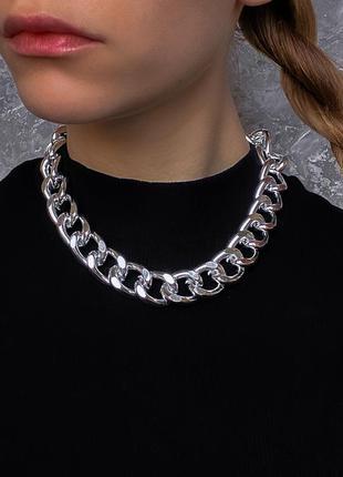 Акция! крупная цепь под серебро бижутерия ожерелье чокер цепочка новая под золото