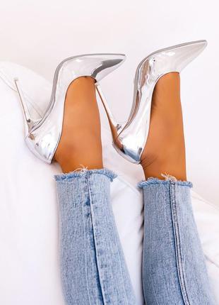 Крутые зеркальные туфли лодочки на шпильке