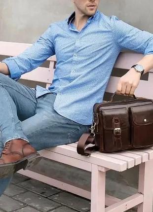 Деловая сумка на плечо кожаная  100% натуральная кожа