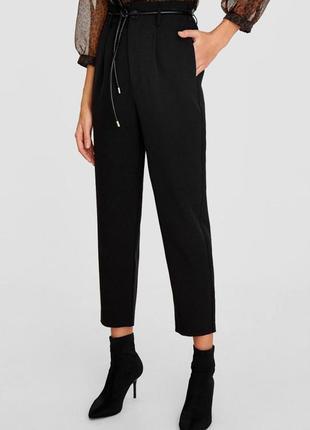 Стильные брюки с высокой талией с поясом