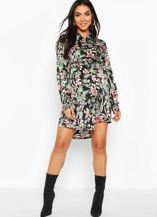 Яркое платье-рубашка для будущих мам, новое