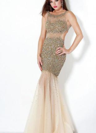 Красивое вечернее платье jovani расшито камнями\выпускное\свадебное