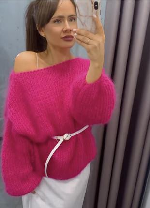 Женский объёмный свитер из мохера пушистый ручная работа 💙