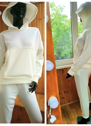 Теплый костюм из трехнитки на флисе с капюшоном