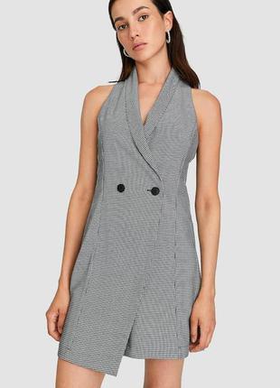 Удлиненный жилет платье в гусиную лапку