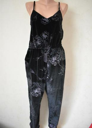 Комбинезон комбез велюровый бархатный со штанами черный длинный