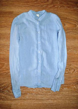 Голубая льняная рубашка оверсайз h&m