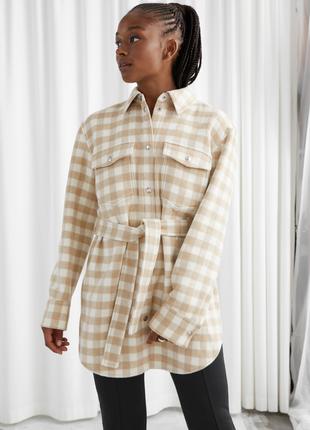 Пиджак-рубашка🔥 оверсайз с поясом/шерстяная рубашка-куртка в клетку & other stories