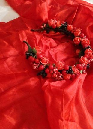 Шара!) великолепная цена!) алое шикарное парео/шарф/платок + отрез на юбку в подарок!