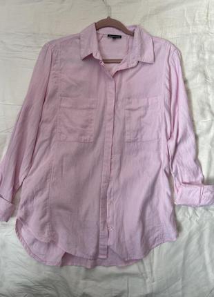 Нежно розовая свободная хлопковая рубашка