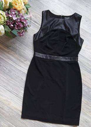 Женское платье карандаш офис стиль сарафан вставки им. кожи р.м