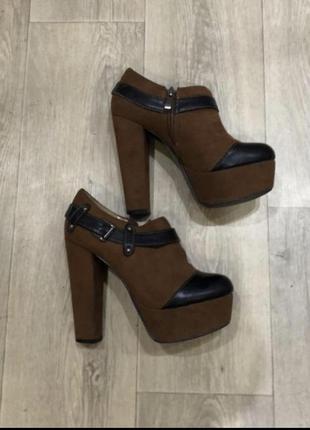 Ботинки ботильоны туфли коричневые