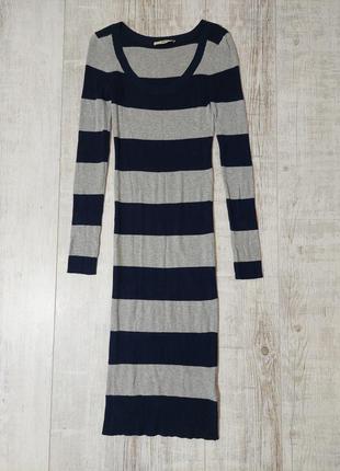Платье миди трикотажное с рукавами