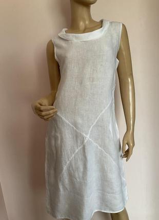 Белое  льняное итальянское бутиковое платье/m-l/