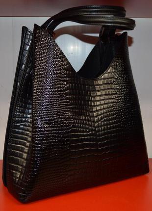 Женская черная сумка из натуральной кожи производство турция