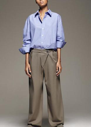 Крутые брюки с косым поясом zara