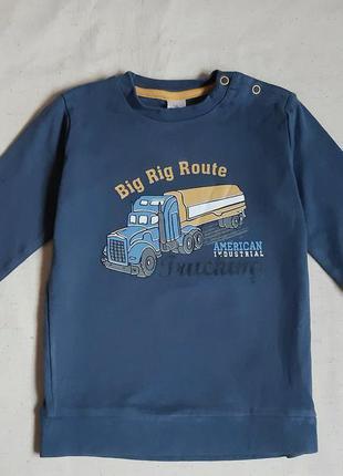 Сине серый плотный хлопковый реглан грузовичок topomini германия на 2-3 года