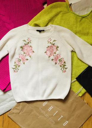 Белая тёплая кофта свитер