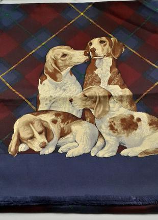Шарф винтаж с изображением охотничьих собак шелк 100% италия