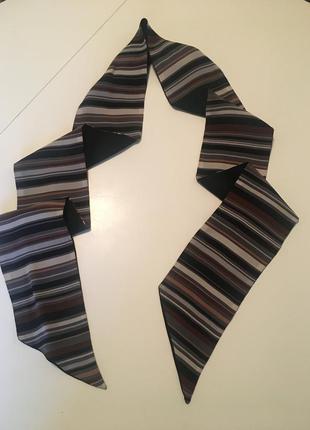 Шёлковый двухсторонний тонкий шарф на шею,голову,сумку 140*9