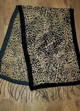 Палантин шарф шаль бархат животный принт леопард