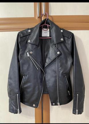 Кожаная куртка, косуха, кожанка, mango s-xs