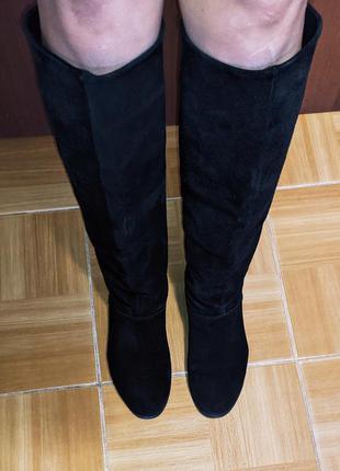Женские сапоги замшевые осенние ботфорты деми жіночі чоботи