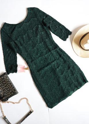 Yessica смарагдова зелена ажурна мереживна сукня