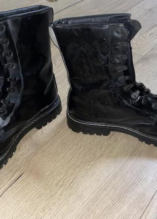 Берцы натуральная кожа 46 размер ботинки черные