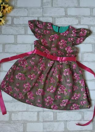 Нарядное платье с цветами на девочку