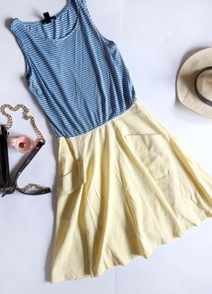 Mango комбінована натуральна сукня у смужку з кишенями