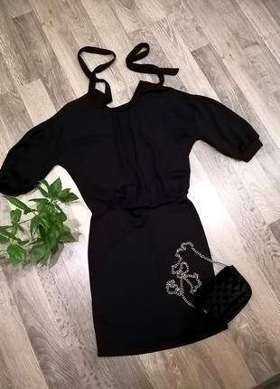 Шикарное, оригинальное чёрное платье сукня сзади завязки. вискоза. mango