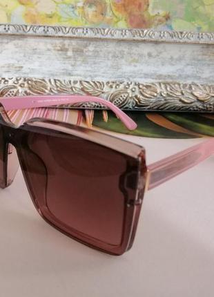 Модные розовые солнцезащитные женские очки квадраты