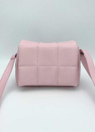 Розовая женская мини сумка через плечо пудровая маленькая сумочка кросс боди