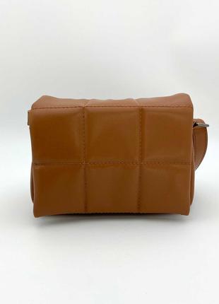 Рыжая маленькая сумочка через плечо красивая модная коричневая мини сумка на длинном ремешке