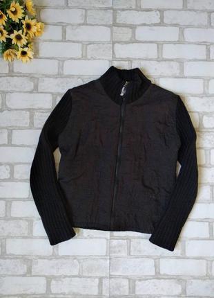 Куртка короткая черная с вязаными рукавами