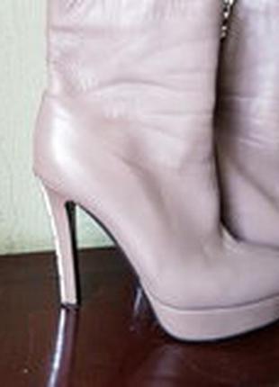 Красивые ботильоны ботинки полусапоги нюдового цвета на шерсти