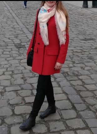 Пальто зара красное оверсайз